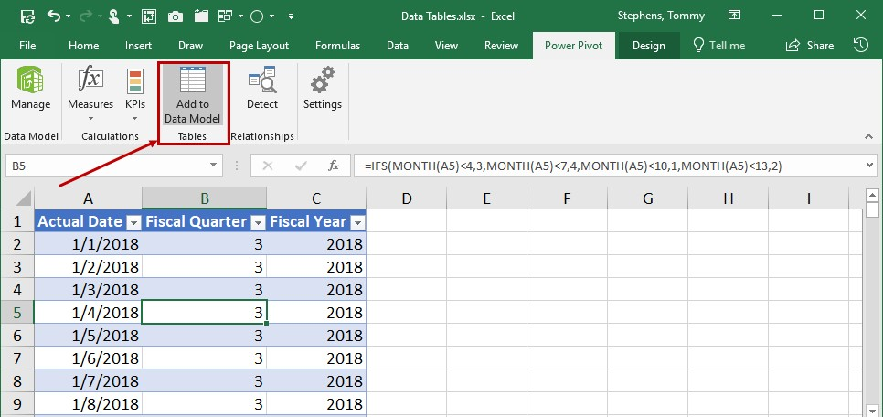 Working With Date Tables In Power Pivot K2 Enterprises