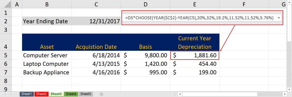 Using Excel's Choose Function to Calculate Depreciation