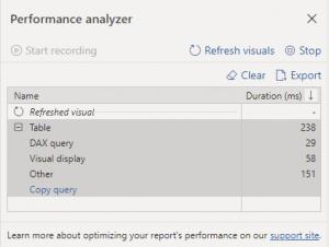 Power BI Performance Analyzer Pane