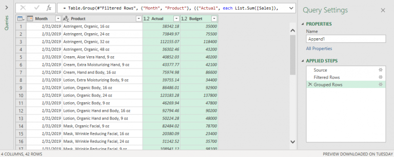 Preview of the Results from Appending Queries