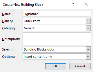 Word's Create Building Block Dialog Box