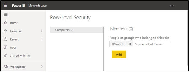 Adding Users to a Role In Power BI Service