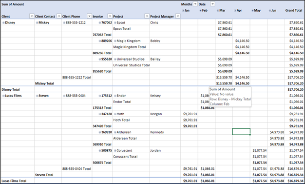 PivotTable with Tabular Layout