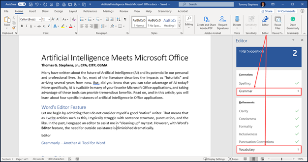 Word's Editor Feature