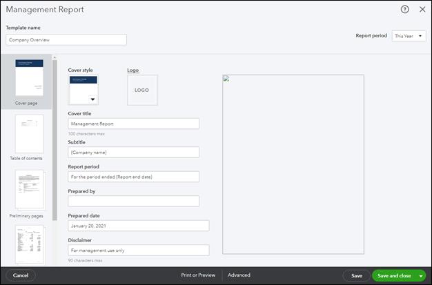Customizing a Management Report