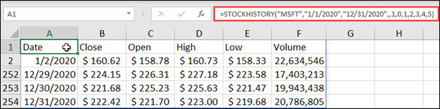 STOCKHISTORY Example with Optional Arguments