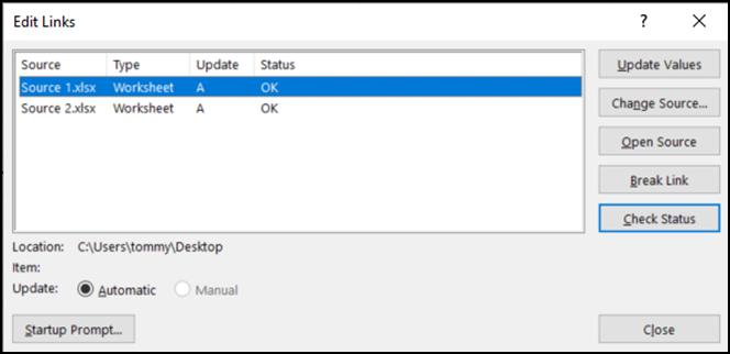 Excel's Edit Links Tool