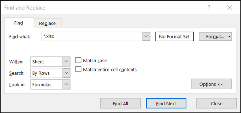 Excel's Find & Replace Tool